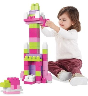 $10Mega Bloks DCH62 First Builders Big Building Bag, 80-Piece, Pink