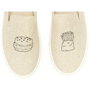 Soludos Jason Polan Burger & Fries Embroidered Slip On Sneaker in Sand - Soludos Espadrilles