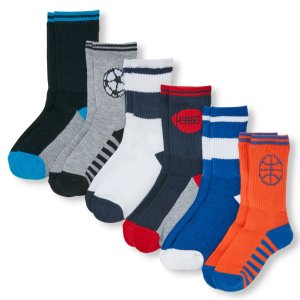 Boys All-Star Striped Crew Socks 6-Pack | The Children's Place