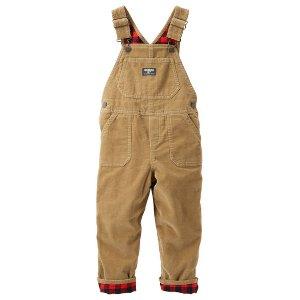 Baby Boy Flannel-Lined Cordroy Overalls   OshKosh.com
