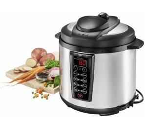 Insignia™ - 6-Quart Pressure Cooker - Stainless steel/black