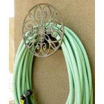 Liberty Garden Products 670 Decorative Anti-Rust Cast Aluminum Wall-Mounted Garden Hose Butler/Hanger with 125-Foot Capacity
