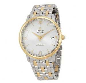 Omega DeVille Prestige Silver Dial Steel and Yellow Gold Men's Watch
