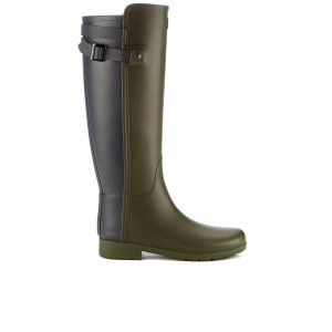 Hunter Women's Original Refined Back Strap Wellies - Dark Olive/Navy - FREE UK Delivery