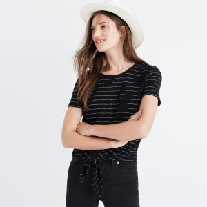 Modern Tie-Front Top in Stripe
