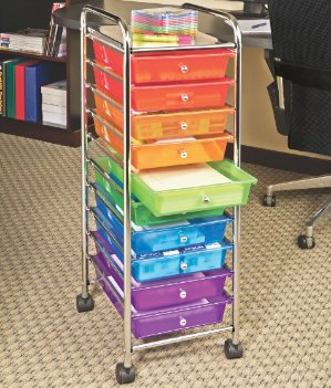 $28.72 ECR4Kids 10-Drawer Mobile Organizer, Assorted Colors
