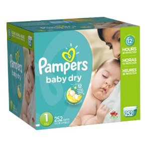 $25.18 Pampers Baby Dry Diapers Economy Pack Plus, Size 1, 252 Count