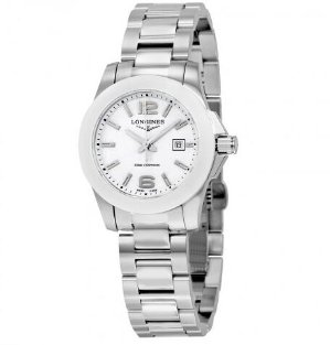 LONGINES Conquest White Dial Stainless Steel Ladies Watch