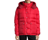 Moncler Brel Puffer Jacket with Removable Hood, Red