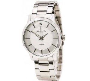 $47.95 Kenneth Cole Men's Rock Out Silver Dial with Diamond Marker Watch