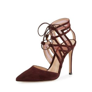 Gianvito Rossi Adria Pointed-Toe d'Orsay Pump, Burgundy