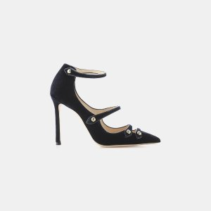 Jimmy Choo Lacey 100 Velvet and Leather Point-Toe Pump Pumps | ELEVTD Free Shipping & Returns