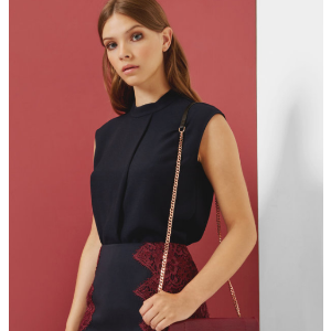 Dropped hem pleated top - Navy | Tops & Tees | Ted Baker