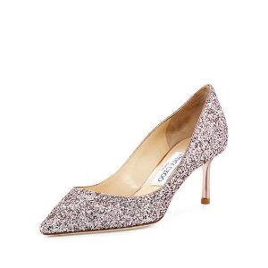 Jimmy Choo Romy Glitter Pointed-Toe 60mm Pump, Tea Rose