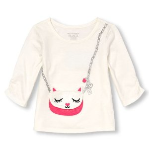 Toddler Girls Long Sleeve Embellished Cat Purse Graphic Top