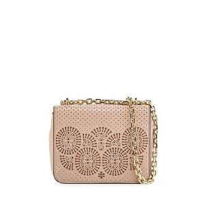 Tory Burch Zoey Mini Laser-Cut Shoulder Bag, Light Oak/Gingersnap