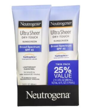 $10.25 Neutrogena Ultra Sheer Drytouch Sunscreen SPF 45 3 Ounce Twin pack