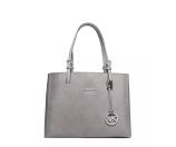 MICHAEL Michael Kors Jet Set Travel Medium Leather Multifunction Tote Bag, Pearl Gray