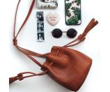Street Level Mini Faux Leather Tassel Bucket Bag