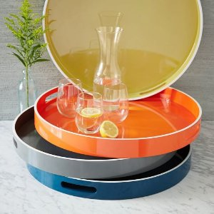 White Rim Lacquer Trays - Round | west elm