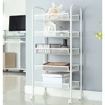 LANGRIA 5-Tier Wire Mesh Rolling Cart for Serving Utility Organization Kitchen Cart Moving Flexible Wheels, 250 lbs Weight Capacity, Ivory White