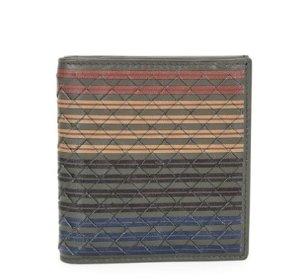 Bottega Veneta Men's Multi-Striped Woven Leather Fold-Over Card Case, Chocolate @ Neiman Marcus