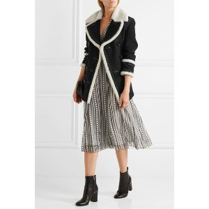 BURBERRY Shearling-trimmed wool-blend coat