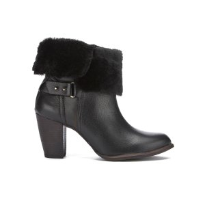 UGG Women's Jayne Suede Sheepskin Heeled Boots - Black - FREE UK Delivery