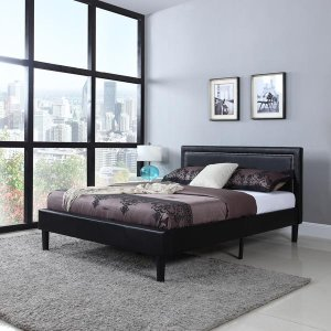 Deluxe Nailhead Trimmed Black Bonded Leather Full Size Platform Bed wi - Sofamania