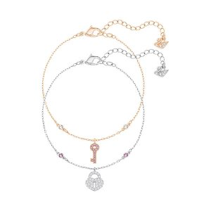 Crystal Wishes Key Bracelet Set, Pink - Jewelry - Swarovski Online Shop