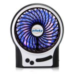$8.99 Efluky Mini USB 3 Speeds Rechargeable Portable Table Fan, 4.5-Inch, Black