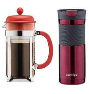 $17.95 Bodum Caffettiera French Press + Contigo Byron Travel Mug