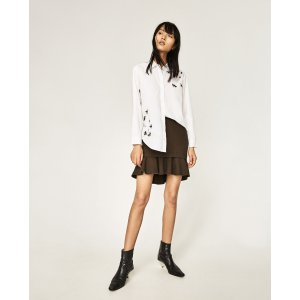 OVERSIZED EMBROIDERED SHIRT - View all-TOPS-WOMAN | ZARA United States