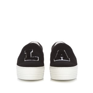 LA felt slip-on platform trainers