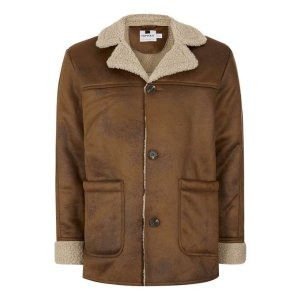 Camel Faux Shearling Coat - TOPMAN USA