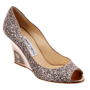 Jimmy Choo Baxen Metallic Coarse Glitter Fabric Wedge