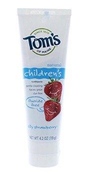 $6.96包邮Tom's of Maine 草莓味不含氟儿童牙膏,3支装