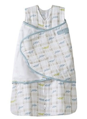 HALO 100% Cotton Muslin Sleepsack Swaddle, Gator Plaid, Small