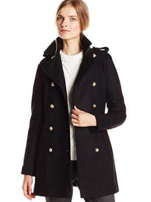 $61.89起(原价$370.98)Via Spiga 女士双排扣羊毛外套,多色可选