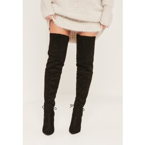 Black Faux Suede Tie Back Over The Knee Boots - Missguided