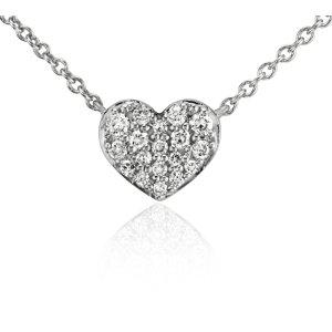 Mini Diamond Heart Necklace in 14k White Gold   Blue Nile