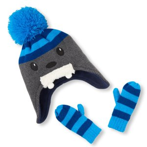 Toddler Boys 3D Walrus Hat And Striped Mittens Set | The Children's Place