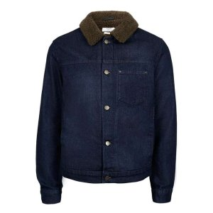 Indigo Faux Shearling Collar Jacket - New This Week - New In - TOPMAN USA