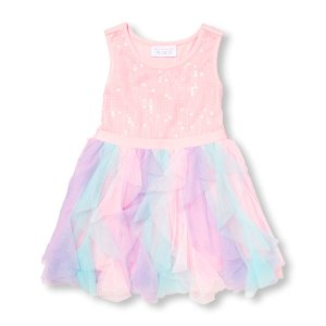 Toddler Girls Sleeveless Sequined Multicolor Mesh Dress | The Children's Place