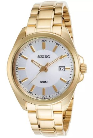 SEIKO-SUR064P1 Men's 42 mm Gold-Tone Stainless Steel Silver-Tone Dial Gold-Tone SS