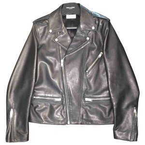 black Plain Leather SAINT LAURENT Jacket - Vestiaire Collective