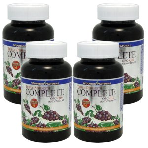Buy 3 get 1 Free: WooHoo Natural Triple Strength Complete OPC-Q10 Antioxidant Formula 180 Capsules