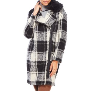 Plaid Check Coat with Removable Faux Fur Trim