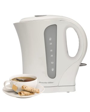 Proctor Silex k4090 Cordless Electric Kettle, 1.7-Liter, White