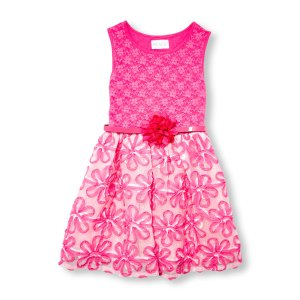 Girls Sleeveless Ribbon Floral Lace Belted Dress